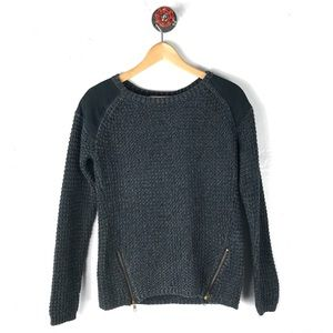 Silence + Noise xs sweater zippers faux suede